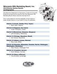 2013 WMMB Election - Wisconsin Milk Marketing Board (WMMB)