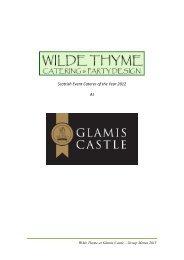 Group Menu - Glamis Castle
