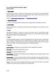 (Purchase/Sales Ledger) Job Description - Glamis Castle