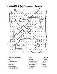 ANSWER KEY Crossword Puzzle