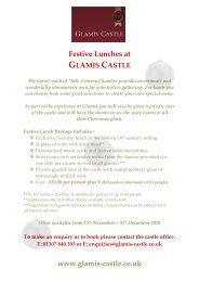 festive menu - Glamis Castle