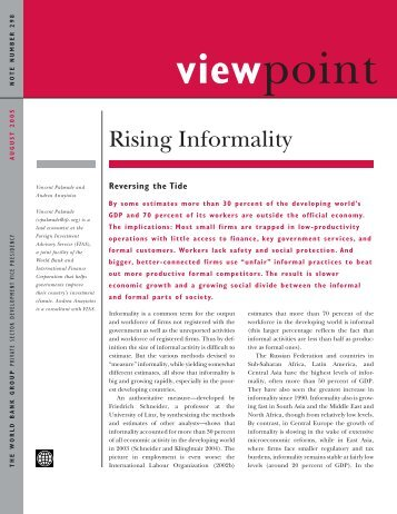 Rising Informality: Reversing the Tide - Investment Climate