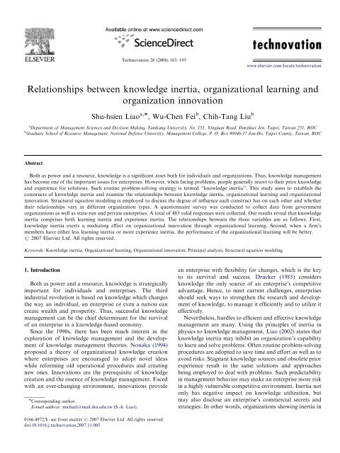 Relationships between knowledge inertia, organizational learning ...