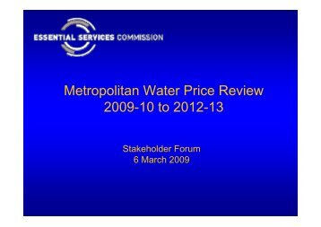 Workshop presentation - Metropolitan Water Price Review 2009-13
