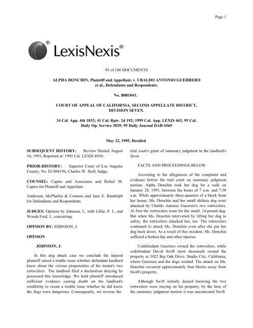 Donchin v. Guerrero - Animal behavior dog bite expert witness