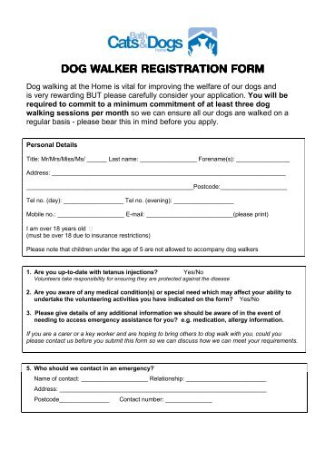 Dog Walker Registration Form - Bath Cats and Dogs Home