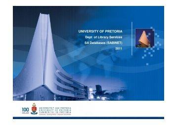SABINET - Library - University of Pretoria