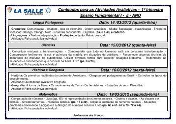 Conteúdos para as Atividades Avaliativas - La Salle