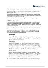 Innstilling fra valgkomiteen i Aker Solutions ASA til selskapets ...