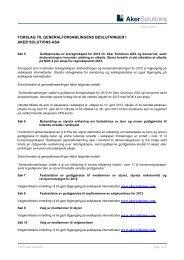 forslag til generalforsamlingens beslutninger i aker solutions asa