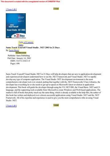 ch Yourself Visual Studio Net In 21 Days (Sams) (2003) (Ebook).pdf