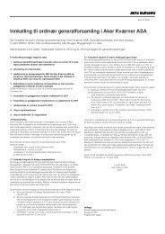 Innkalling til ordinær generalforsamling i Aker ... - Aker Solutions