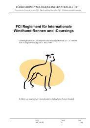FCI Reglement für Internationale Windhund-Rennen und ... - Sofahund
