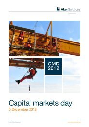 Capital markets day presentations 2012 - Aker Solutions
