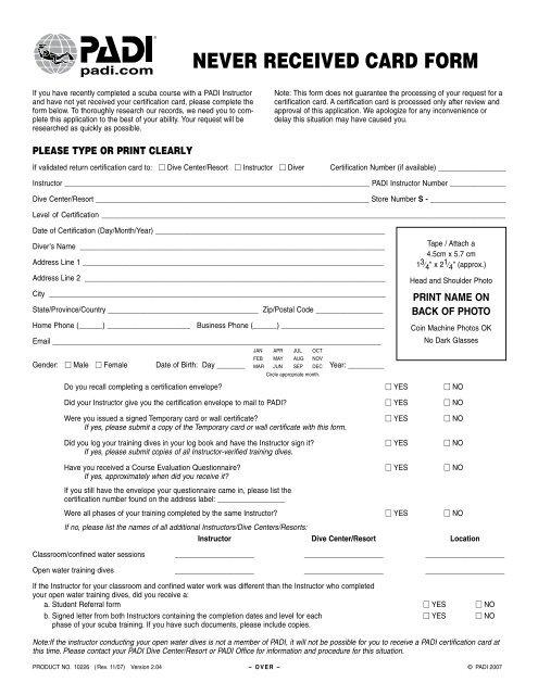 Padi Never Received Card Form Scuba Center