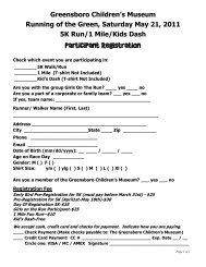 Participant Registration - Greensboro Children's Museum