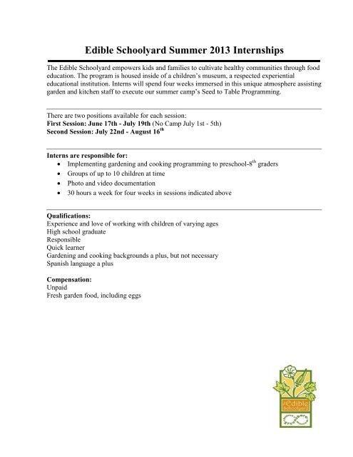an Edible Schoolyard Intern Application - Greensboro