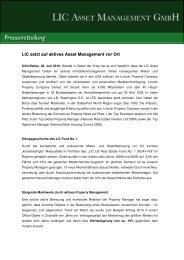 Pressemitteilung 07-2010 LIC Fund No. 1 setzt auf aktives Asset ...