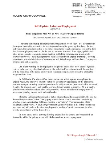 ROGERS JOSEPH O'DONNELL RJO Update: Labor and Employment