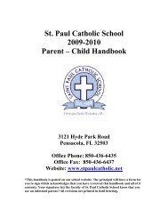 St. Paul Catholic School 2009-2010 Parent – Child Handbook 3121 ...