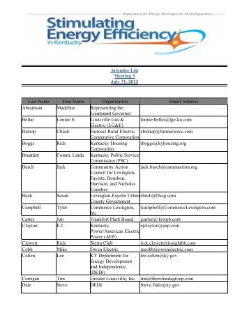 Meeting 3 Confirmed Participant List - Department for Energy ...