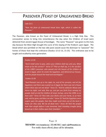 PASSOVER /FEAST OF UNLEAVENED BREAD - True Nation