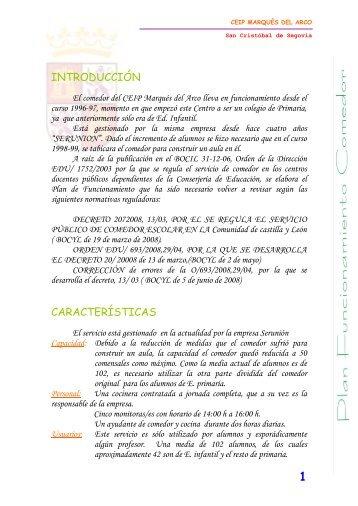 introducción características - CEIP MARQUÉS DEL ARCO - Junta ...