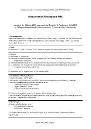 Statuto della Fondazione FRC - Fondazione CES