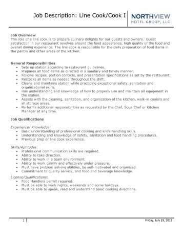 Job Description Job Title: Line Cook (P.M. ... - Desert Highlands