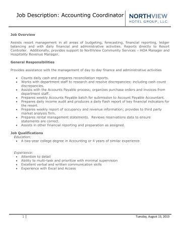 maintenance coordinator job description