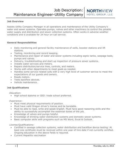 Job Description: Maintenance Engineer-Utility     - Running