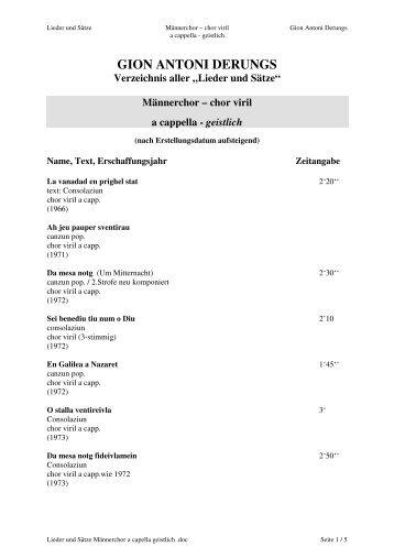 Männerchor a capella geistlich - Gion Antoni Derungs