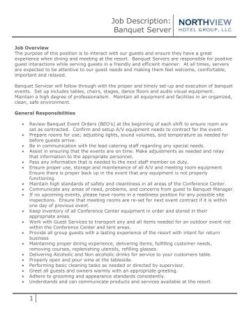 job description banquet server running y ranch. Resume Example. Resume CV Cover Letter