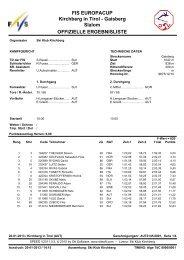 Ergebnisliste Europacup Slalom Kirchberg 20.01.2013
