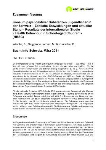 Zusammenfassung Konsum psychoaktiver ... - Sucht Schweiz