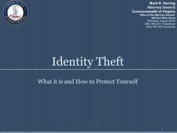 Identity Theft 2009 - Virginia Attorney General - Commonwealth of ...