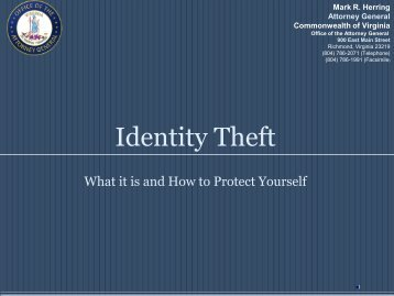 Identity Theft 2009 - Virginia Attorney General - Commonwealth of ...