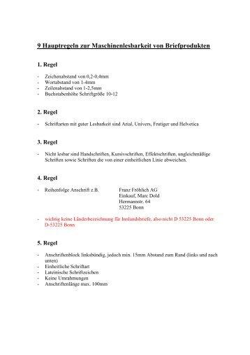 9 Regeln zur Maschinenlesbarkeit von Adressdaten - Q5 Brief + Post