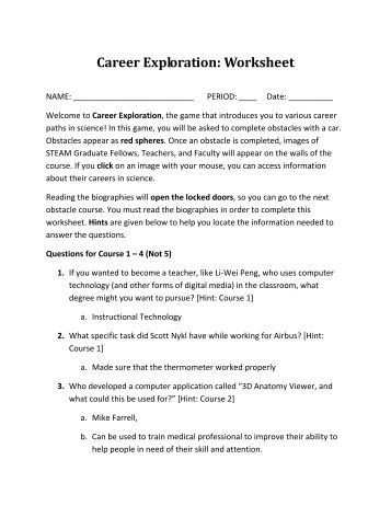 Career exploration worksheets high school