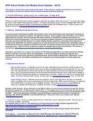 DPH School Health Unit Weekly Email Updates 8/4/10