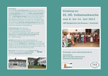 Einladung zur 35. OÖ. Volksmusikwoche vom 8. bis 14 ... - Braunau