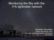 Monitoring the Sky with the IYA lightmeter network - Verein Kuffner ...