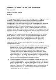 CSR und Politik in Österreich - Netzwerk Soziale Verantwortung