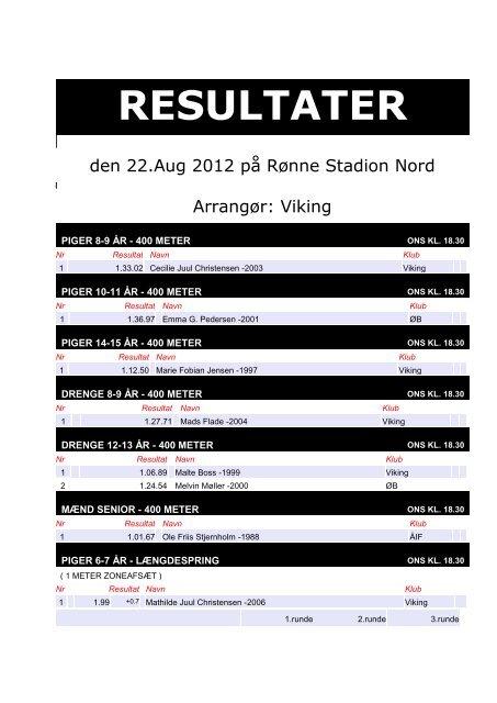 den 22.Aug 2012 på Rønne Stadion Nord ... - Viking Atletik