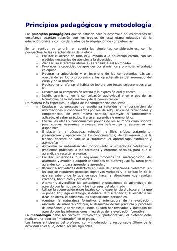 Principios pedagógicos y metodología - IES Fuente de la Peña