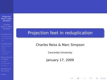 Projection feet in reduplication - CUNY Phonology Forum