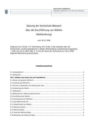 Wahlordnung - Hochschule Biberach
