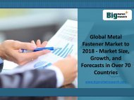 Global Market Trends for Metal Fastener Market to 2018