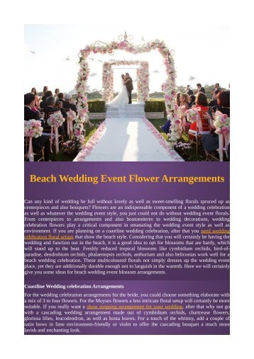 Beach Wedding Event Flower Arrangements