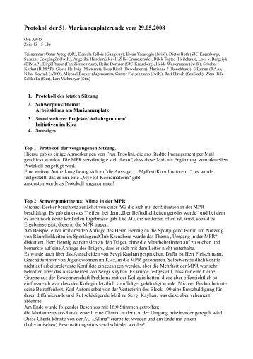 Protokoll der 51. Mariannenplatzrunde vom 29.05.2008